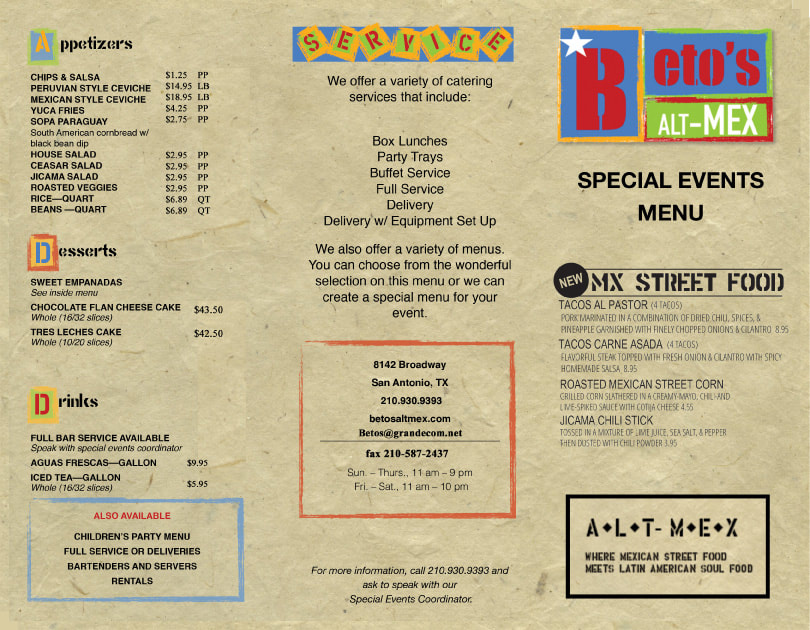 Beto's Alt-Mex Catering Menu - alternative Mexican food in San Antonio, TX